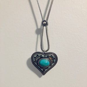 Faux Turquoise Silver and Gold Tone Necklace